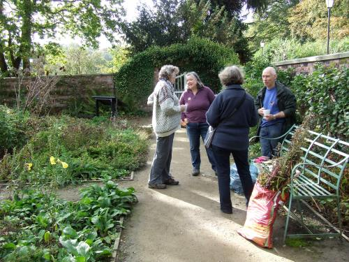 A well earned break for the gardening volunteers.