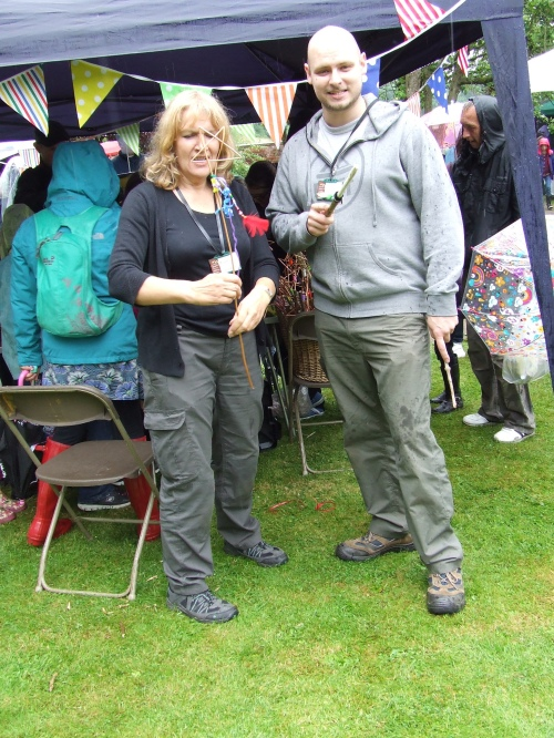 Lesley and Adam of shapedbynature with their wizard sticks and fairy wands