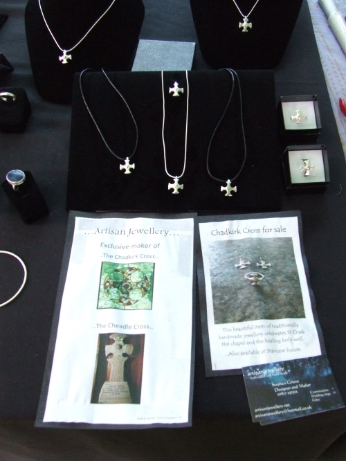 Silver rings, crosses and pendants - including a cross inspired by St. Chad's cross. Beautifully made by a local craftsman.