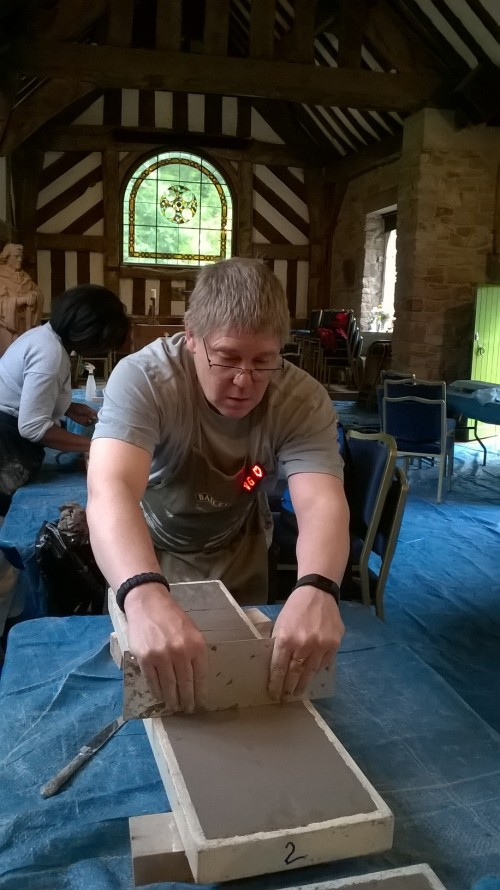 Preparing the clay blocks